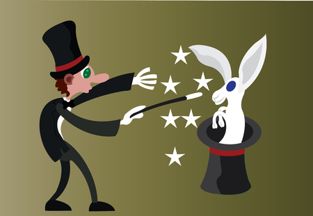 A magician performing a trick Illusztráció