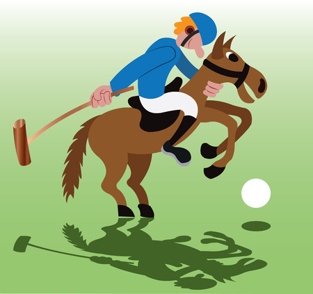 a polo sport player about to hit a ball
