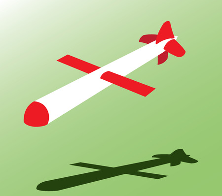 A cruise Missile Flying to its targeted destination Ilustração