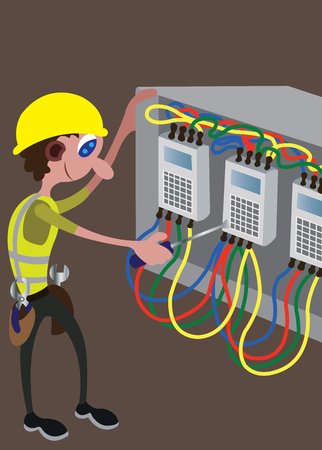 an electrician busy repairing a damaged main switch. Illustration