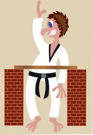 A martial artist tries to cut a block of wood with his hands Illustration
