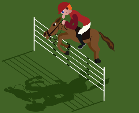 a jockey doing some showjumping Illustration