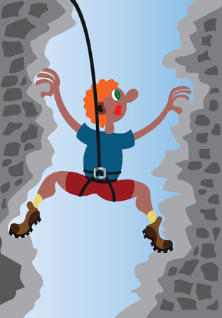 A mountaineer scaling rocks