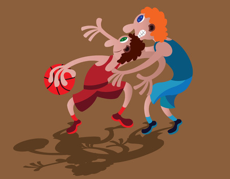 Two basketball players enjoying their game Ilustração