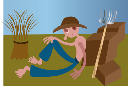 A plantation farmer resting out in the fields Ilustração