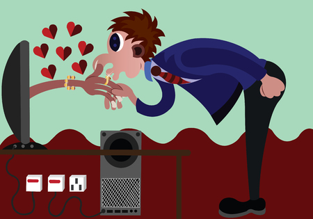 A guy kisses a girls hand from an online dating site Illustration