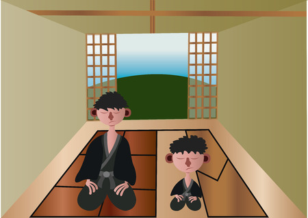 Japanese meditators relax in their house, Stock Illustratie