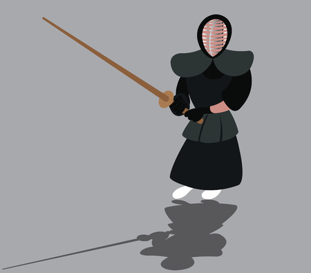 a kendo fighter ready to hit his opponent