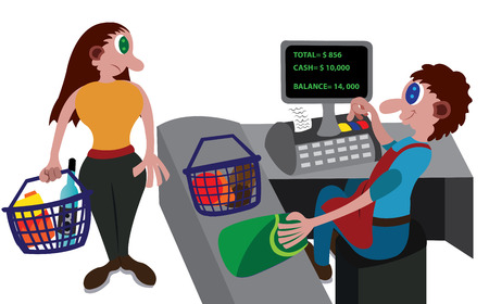 A Cashier serving a customer at retail store Illustration