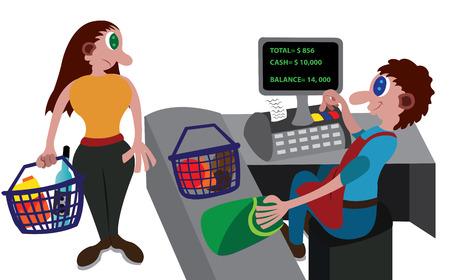 Un caissier au service d'un client au magasin de détail