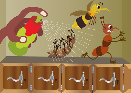 Bugs running away from an insecticide spray Illustration