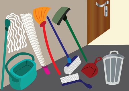 Various tools used in daily cleaning, such as brooms and mopers Ilustração
