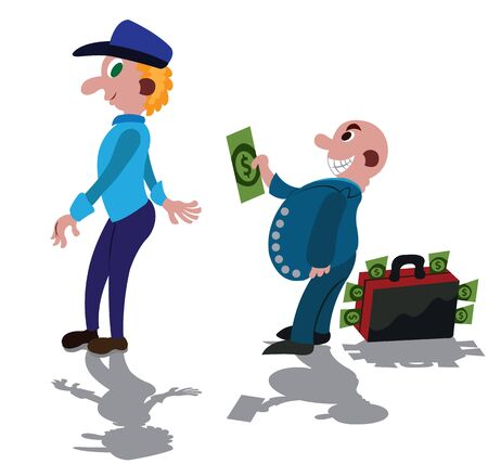Bribery in full swing, A rich man bribing a corrupt Police Officer Vektoros illusztráció