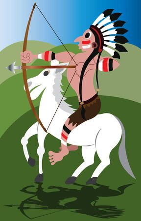 Plains Indian Warrior on horseback Иллюстрация