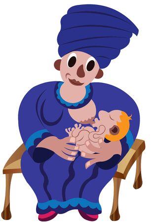 Lactating mother Breastfeeding her newborn baby