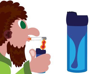 An active smoker using a lighter