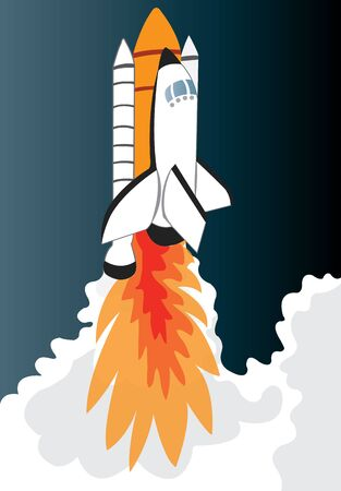 Space Shuttle after launch heading into space Ilustração