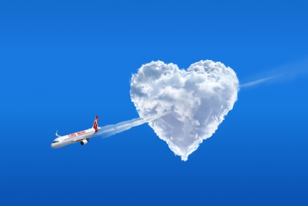 Love airline  Love is in the air Stock Photo