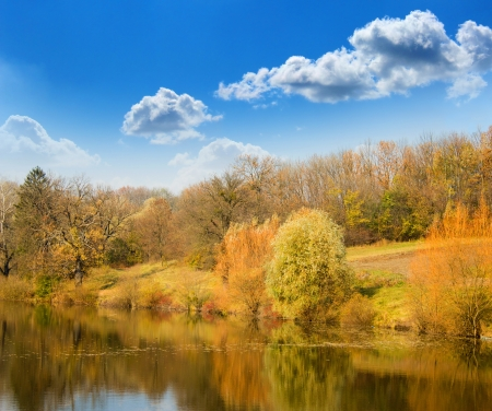 naturally:  Autumn landscape on the bank of lake