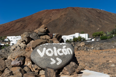 volcan: Walking up to the Red Mountain, an easy walk, ook for children. It gives a great view all around! The how to get there is easy, just follow the signs. Stock Photo