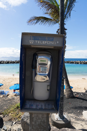 phonebooth: Phone booth on the boulevard in Playa Blanca, dont know if its still working but it is a great location for a phone booth.