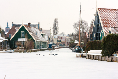 graft: Winter view towards Graft de Rijp, a town in Noord Holland, the Netherlands.