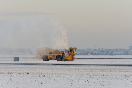 runways: Cleaning the runways of Schiphol during winter time is an enormous job-which goes on 247th When needed