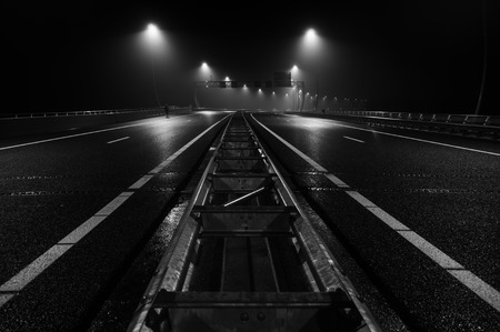 fog white: A new highway near Amsterdam, perfect for pictures Stock Photo