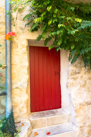 french doors: Beautiful red door in Greoux les Bains