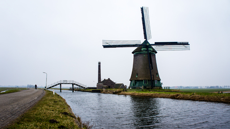 build in: Old windmill in Opmeer the Netherlands, build in 1654 Stock Photo