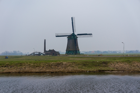 noord: Old windmill in Opmeer the Netherlands, build in 1654 Stock Photo