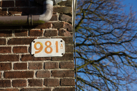 noord: Old house number with the use of a very old font
