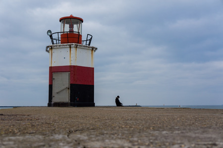 beacons: One of the two beacons at the entrance of the harbor of IJmuiden