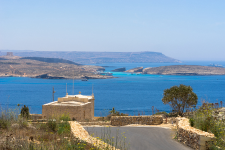 blue lagoon: View towards the Blue Lagoon in Comino, part of Malta