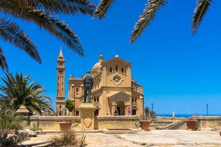 garb: Ta Pinu is a Roman Catholic minor basilica and national shrine located some 700 meters from the village of G?arb on the island of Gozo, the sister island of Malta. Stock Photo