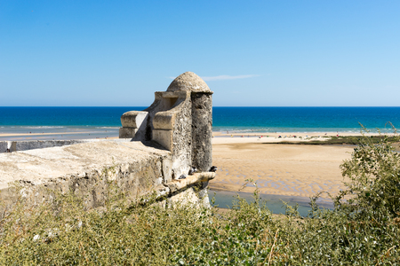 ria: Cacela Velha is situated on top of a hill with a view to the easternmost lagoon of the Ria Formosa. Stock Photo