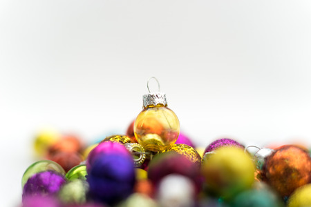 Mixture of Glass Christmas decoration attributes in divers colors and arrangements