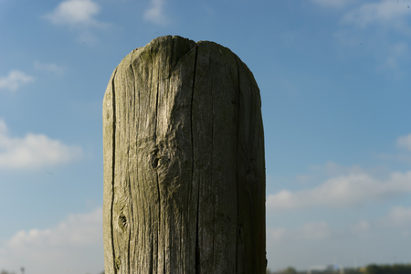 nowhere: Old weathered wooden pole in the middle of nowhere