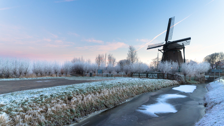 Windmill de Veer, near Haarlem city, on a winter morning