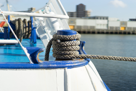 Detail of a berthed fishing boat in IJmuiden harbor