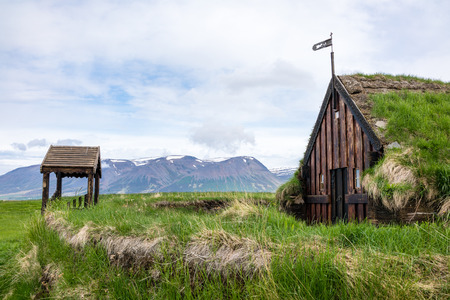 the Chapel at Gröf in Höfðaströnd in North-Iceland - is Icelands oldest turf church. Parts of the current turf church date back to the 17th century. Stock Photo