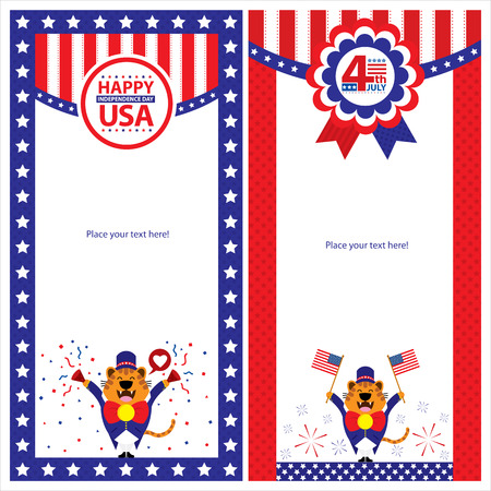 American Independence day template card sets Vector