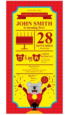 birthday koala card invitation