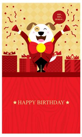 birthday dog greeting card Vector