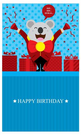 birthday koala greeting card Vector
