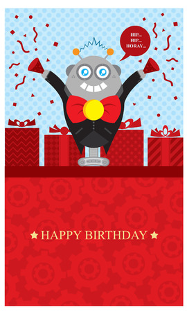 birthday robot greeting card Vector