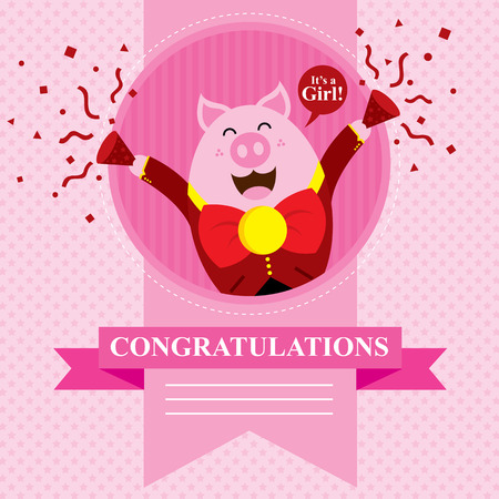 new born baby girl: baby pig shower card design
