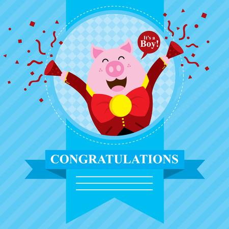 baby pig shower card design  Vector