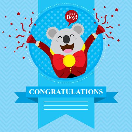 baby koala shower card design  Vector