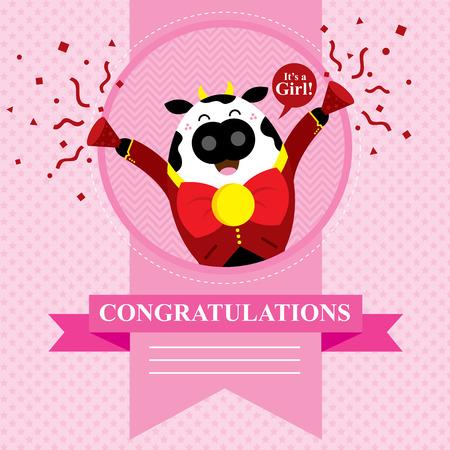 baby cow shower card design